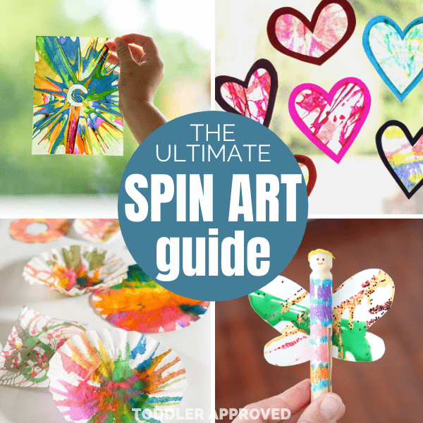 Colorful art projects using paint, coffee filters, and a salad spinner.