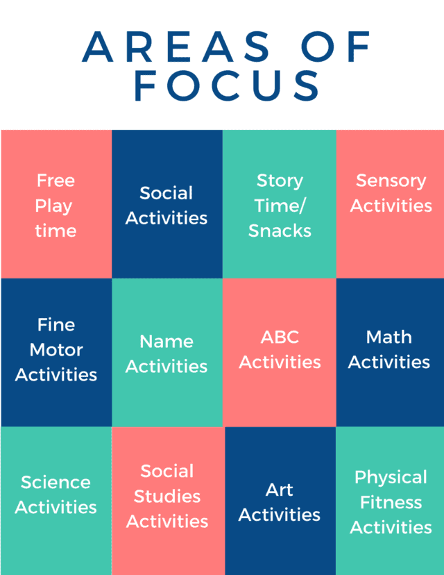 12 preschool curriculum areas of focus