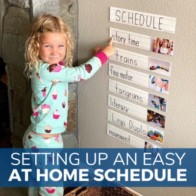Girl builds a preschool schedule