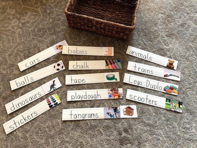 sentence strips with preschool activities on them