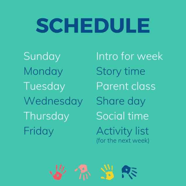 schedule for Toddler Approved Learning Together community
