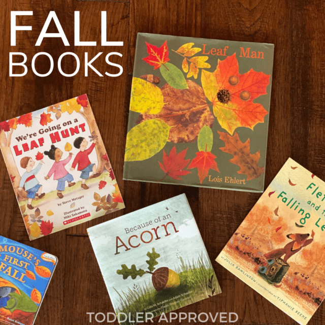 five fall picture books laying on a wood floor