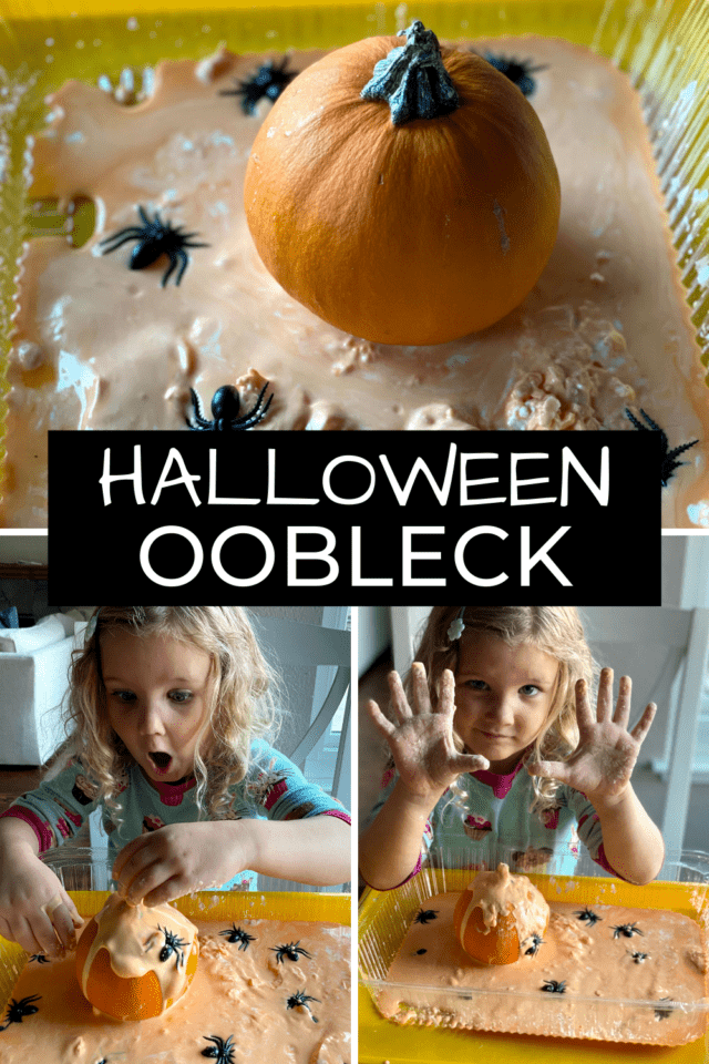 pumpkin sensory play with oobleck