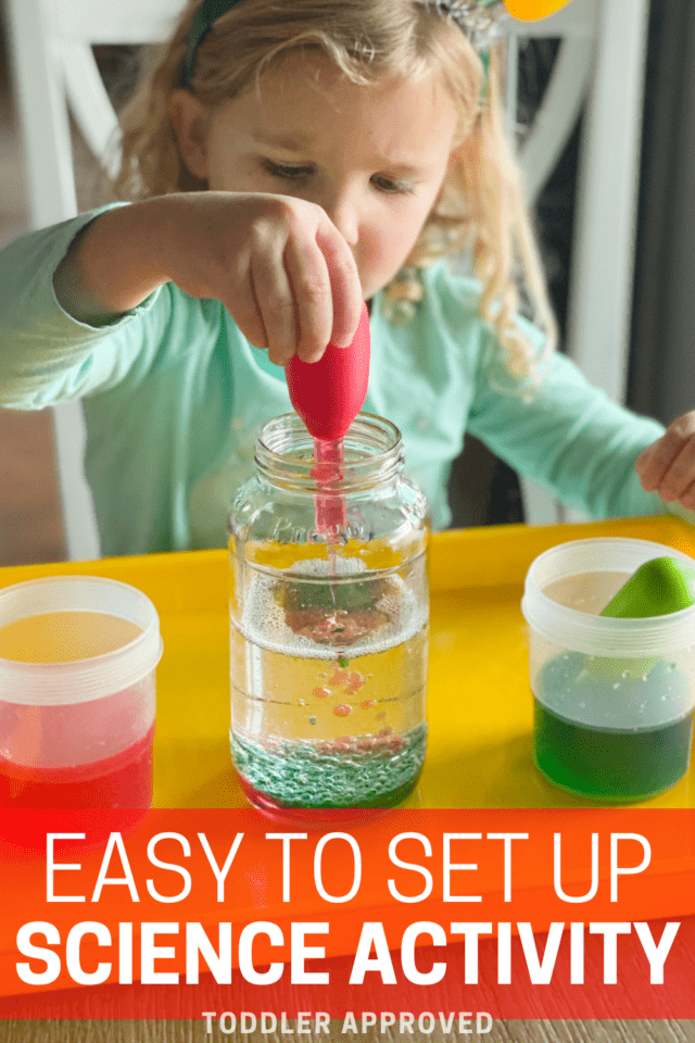 Easy to set up Christmas oil and water experiment