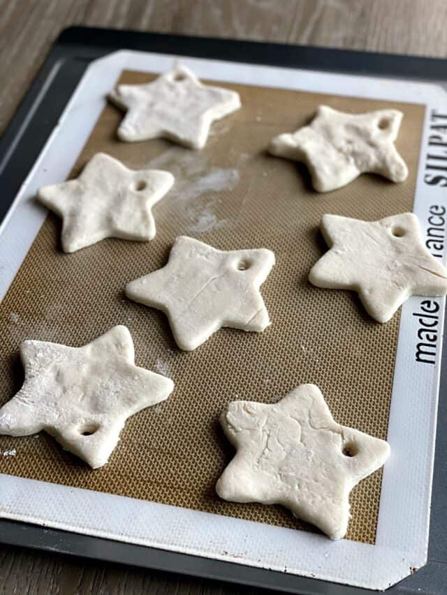salt dough stars on a baking tray