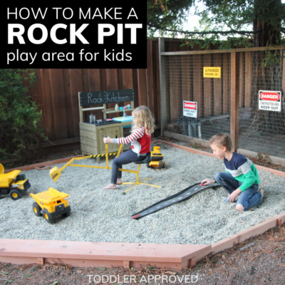 construction rock pit play area for kids