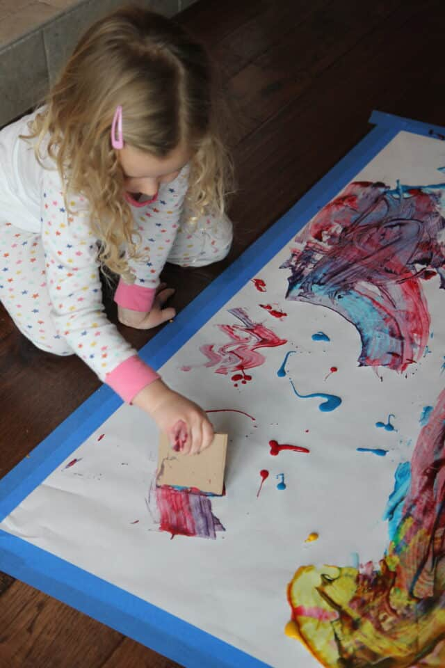 painting activity with cardboard