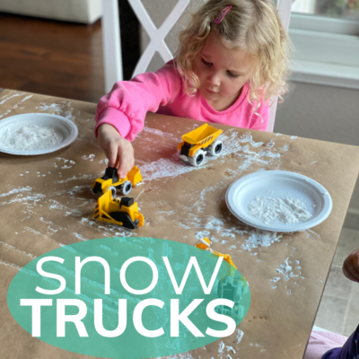 painting with trucks and white paint