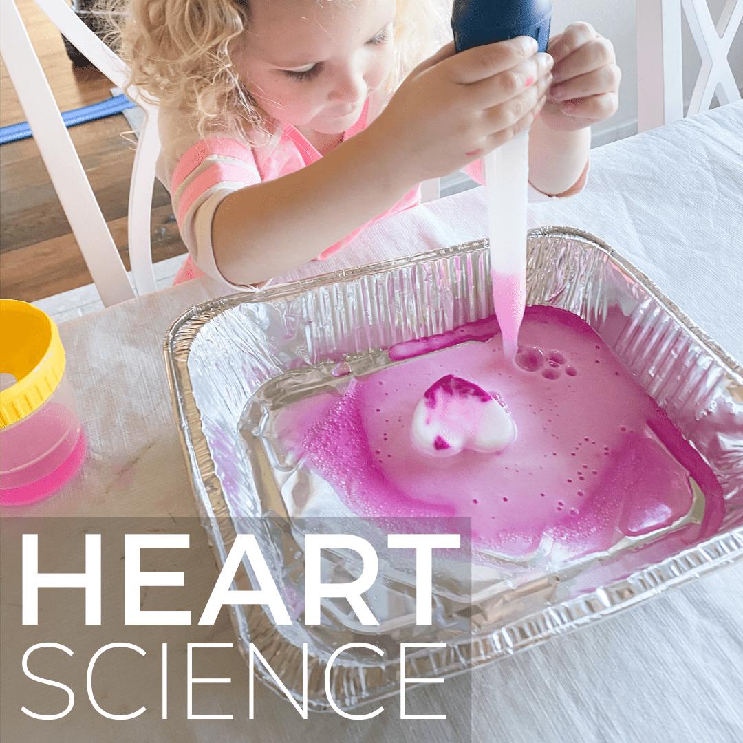 Girl squeezes vinegar onto a frozen baking soda heart