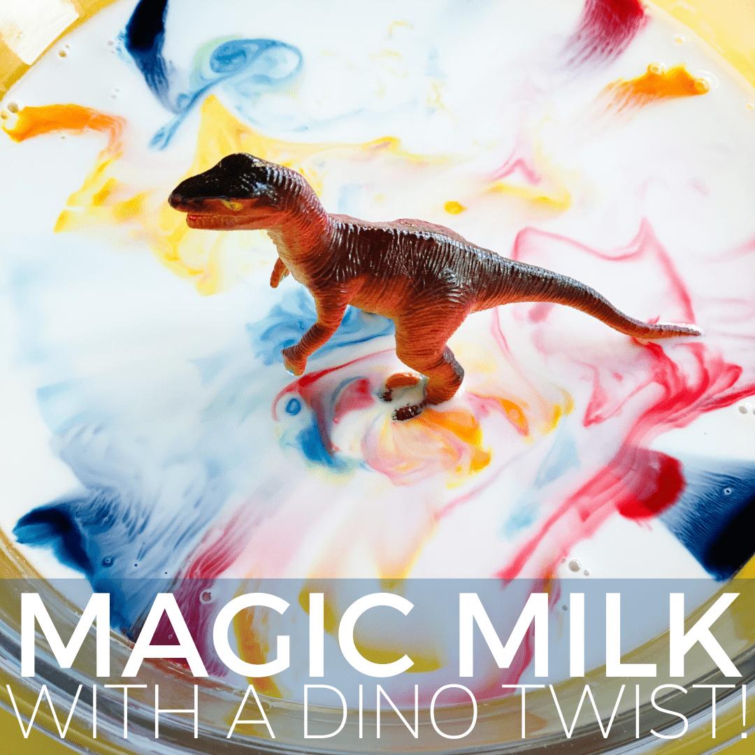 plastic dinosaur toy sitting in colorful milk