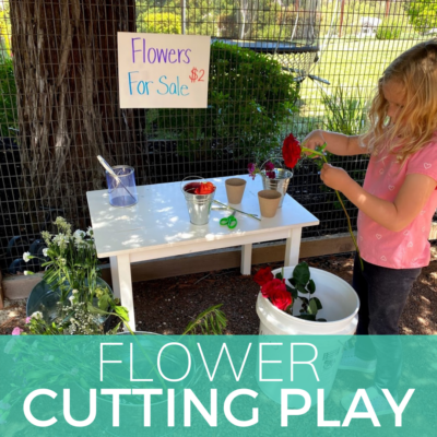 cutting activity with flowers