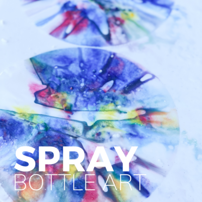 baking soda fizzy art with spray bottles