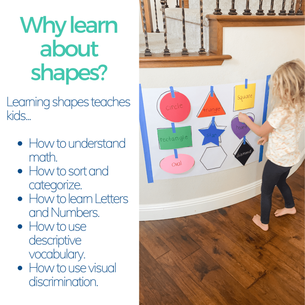 tips for why kids should learn about shapes includes a picture of a girl sticking a purple heart on the wall