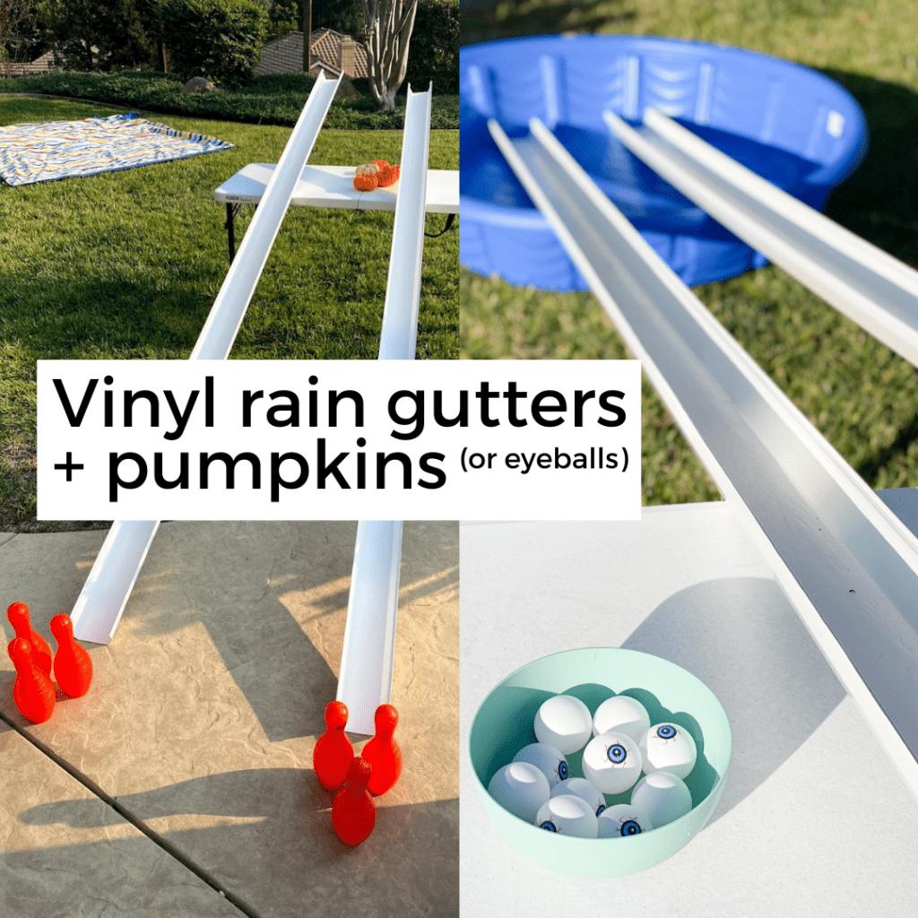 plastic eyeballs and pumpkins rolling down vinyl rain gutters