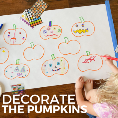 pumpkin decorating with stickers for kids